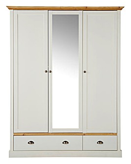 York 3 Door 2 Drawer Mirrored Wardrobe