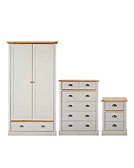 York 3 Piece Bedroom Package (Bedside, 4+2 Drawer Chest, 2 Door Wardrobe)
