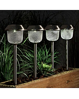 Set of 4 Solar Mesh Stake Lights