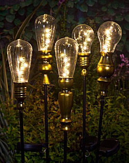 Modern Metallic Lightbulb Stake Lights