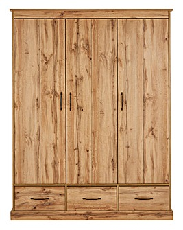 Hartland 3 Door 3 Drawer Wardrobe