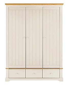 Hampton 3 Door 3 Drawer Wardrobe