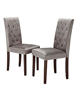 Grace Velvet Pair of Dining Chairs