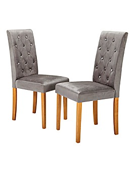 Grace Velvet Pair of Dining Chairs