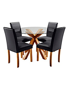 Albany Circular Dining Table with 4 Mia Faux Leather Chairs