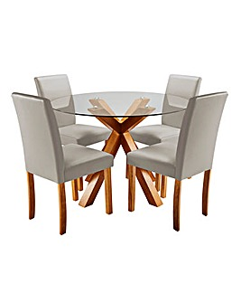 Albany Table 4 Mia Faux Leather Chairs