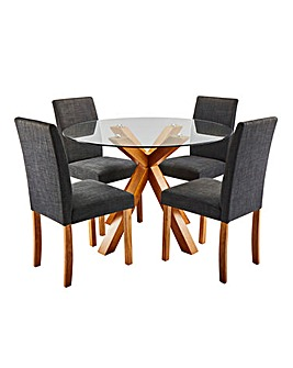 Albany Table with 4 Mia Fabric Chairs