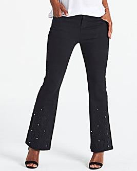 Kim High Waist Bootcut Embellished Jeans