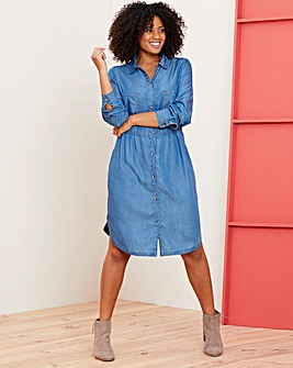 Blue Soft Tencel Denim Smock Shirt Dress