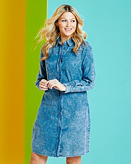Blue Acid Wash Denim Shirt Dress