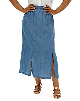Blue Tencel Split Side Full Length Skirt