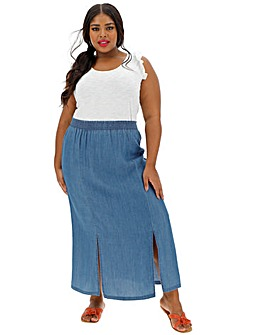 Tencel Split Side Ankle Length Skirt