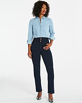 Dark Indigo Shape & Sculpt High Waist Straight Leg Jeans Regular Length