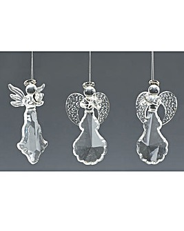 Set of 3 Silver Glass Angels
