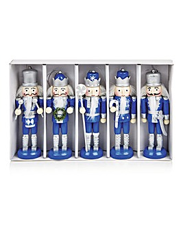Set of 5 Nutcrackers in Blue and Silver