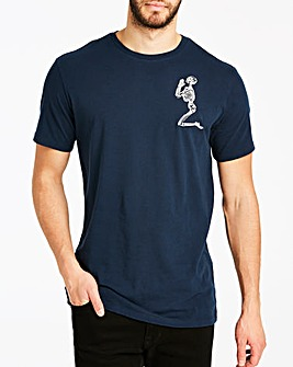 Religion Navy Praying Skeleton Logo T-Shirt Long