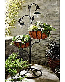 Hanging Basket Stand with Solar Lights