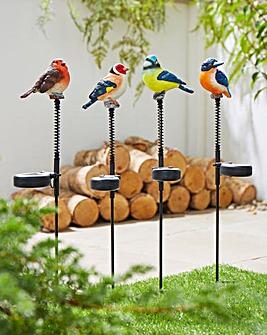 Set of 4 Hand-Painted Solar Garden Birds