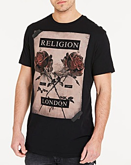 Religion Black Cross Rose T-Shirt L