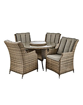 Florida 4 Seater Circular Dining Set