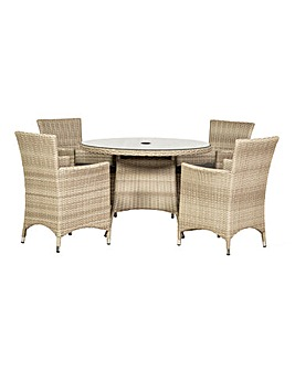 Lisbon 4 Seater Round Dining Set