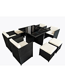 Black Rattan 9 piece Cube Set