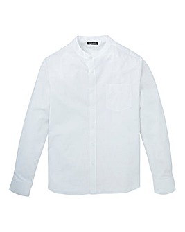White Long Sleeve Grandad Oxford Shirt Regular