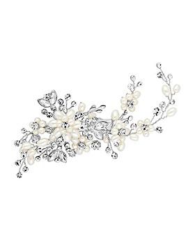 Designer Silver Pearl Blossom Wrap Hair Clip