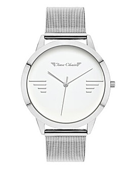 Time Chain Silver Tone Mesh Watch