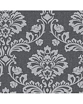 Superfresco Aurora Damask Black/Grey Wallpaper