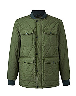 Olive Ribbed Collar Quilted Jacket