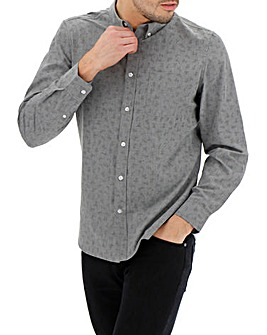 Grey Long Sleeve Printed Shirt