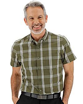 Khaki Short Sleeve Check Shirt
