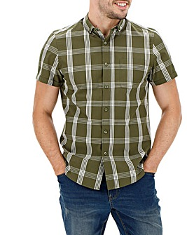 Khaki Short Sleeve Check Shirt