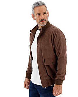 Brown Mock Suede Blouson Jacket