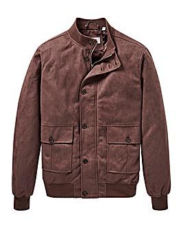 Brown Mock Suede Blouson Jacket