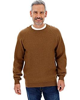 Brown Crew Neck Wool Jumper Long