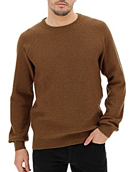 Brown Crew Neck Wool Jumper Long