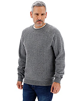 Grey Crew Neck Wool Jumper Long