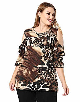 Koko Animal Print Cold Shoulder Top