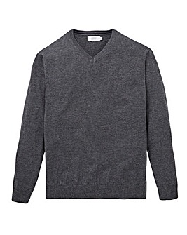 W&B Charcoal Wool Mix V Neck Jumper R