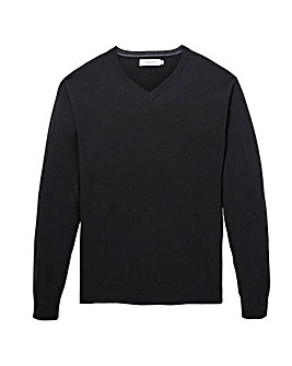 W&B Black Wool Mix V Neck Jumper Regular