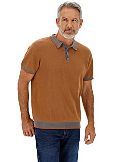 Toffee Short Sleeve Knitted Polo