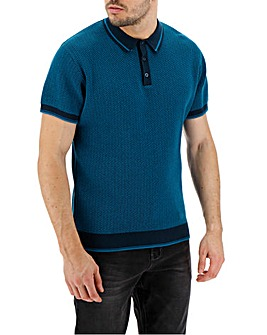 Teal Short Sleeve Knitted Polo