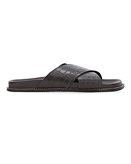 Leather Mock Croc Footbed Mule Sandals Extra Wide EEE Fit