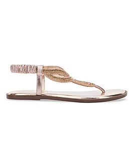 Leather Intertwined Toe Post Sandals Wide E Fit