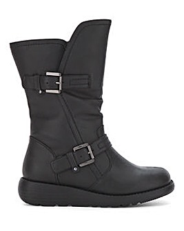Buckle Detail Mid Boots Wide E Fit