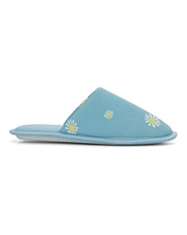 Daisy Print Mule Slippers Extra Wide EEE Fit