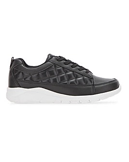 Lace Up Trainer with Quilting Extra Wide EEE Fit