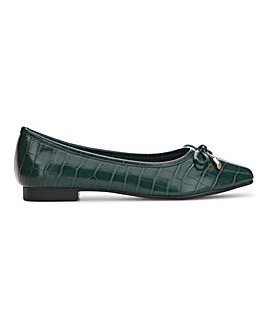 Square Toe Croc Bow Ballerina Extra Wide EEE Fit